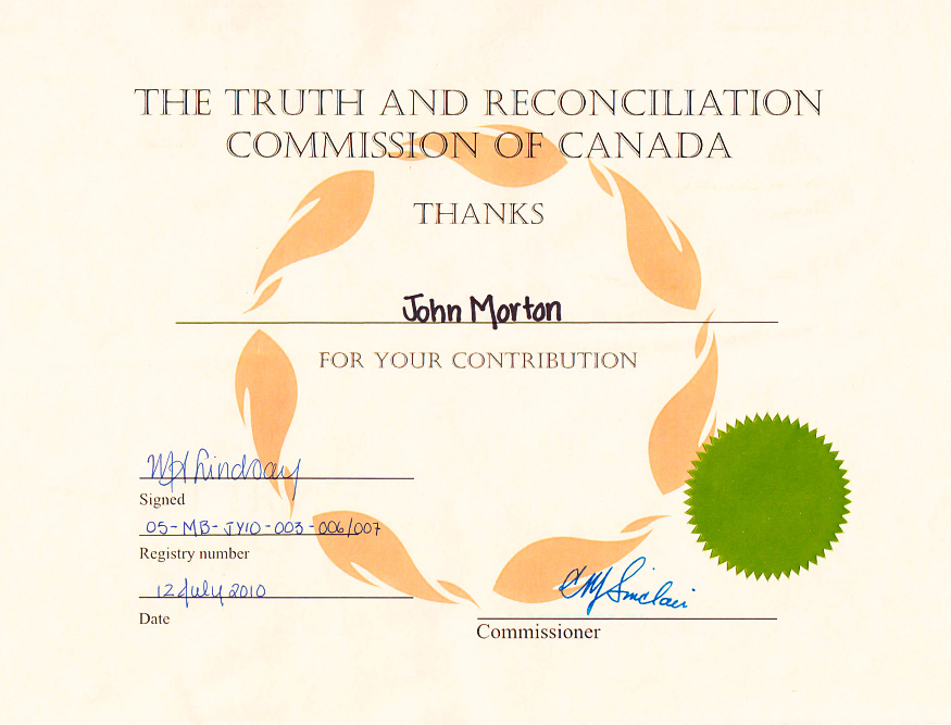 Cirtificate of participation in the Truth and Reconcilliation Commission of Canada